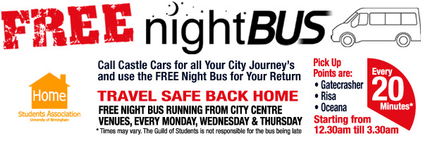 Castle Cars FREE Student Night Bus